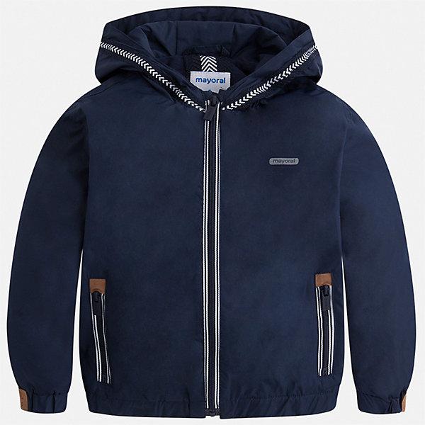 Куртка Mayoral для мальчикаВетровки и жакеты<br>Характеристики товара:<br><br>• цвет: синий<br>• состав ткани: 100% полиэстер<br>• подкладка: 100% хлопок<br>• утеплитель: нет<br>• сезон: демисезон<br>• особенности куртки: с капюшоном, спортивный стиль<br>• застежка: молния<br>• страна бренда: Испания<br>• неповторимый стиль Mayoral<br><br>Такая практичная легкая куртка для детей сделана из качественного материала. Куртка для мальчика отличается стильным продуманным дизайном. В детской куртке есть капюшон, модель дополнена мягкими манжетами и удобными карманами.<br><br>Куртку Mayoral (Майорал) для мальчика можно купить в нашем интернет-магазине.<br>Ширина мм: 356; Глубина мм: 10; Высота мм: 245; Вес г: 519; Цвет: синий; Возраст от месяцев: 18; Возраст до месяцев: 24; Пол: Мужской; Возраст: Детский; Размер: 92,134,128,122,116,110,104,98; SKU: 7543064;