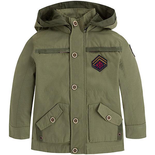 Куртка Mayoral для мальчикаВерхняя одежда<br>Характеристики товара:<br><br>• цвет: хаки<br>• состав ткани: 52% хлопок, 48% полиамид<br>• подкладка: 65% полиэстер, 35% хлопок<br>• утеплитель: нет<br>• сезон: демисезон<br>• особенности куртки: с капюшоном<br>• застежка: молния<br>• страна бренда: Испания<br>• неповторимый стиль Mayoral<br><br>Стильная ветровка для мальчика подойдет для прохладной или переменной погоды. Легкая куртка для детей от популярного бренда Mayoral - модная и удобная вещь. Детская куртка сшита из качественного материала. Куртка для мальчика Mayoral дополнена манжетами и карманами.<br><br>Куртку Mayoral (Майорал) для мальчика можно купить в нашем интернет-магазине.<br>Ширина мм: 356; Глубина мм: 10; Высота мм: 245; Вес г: 519; Цвет: зеленый; Возраст от месяцев: 18; Возраст до месяцев: 24; Пол: Мужской; Возраст: Детский; Размер: 92,134,128,122,116,110,104,98; SKU: 7543109;
