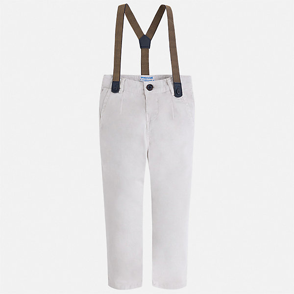 Брюки Mayoral для мальчикаБрюки<br>Характеристики товара:<br><br>• цвет: белый<br>• комплектация: брюки, подтяжки<br>• состав ткани: 98% хлопок, 2% эластан<br>• сезон: демисезон<br>• шлевки<br>• регулируемая талия<br>• застежка: пуговица<br>• страна бренда: Испания<br>• неповторимый стиль Mayoral<br><br>Эффектные брюки сшиты из дышащего приятного на ощупь материала. Благодаря преобладанию в его составе натурального хлопка материал детских брюк создает комфортные условия для тела. Брюки для мальчика отличаются стильным дизайном и подтяжками в комплекте.<br><br>Брюки Mayoral (Майорал) для мальчика можно купить в нашем интернет-магазине.<br>Ширина мм: 215; Глубина мм: 88; Высота мм: 191; Вес г: 336; Цвет: серый; Возраст от месяцев: 18; Возраст до месяцев: 24; Пол: Мужской; Возраст: Детский; Размер: 92,134,128,122,116,110,104,98; SKU: 7543145;