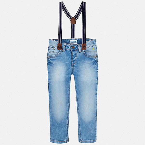 Джинсы Mayoral для мальчикаДжинсы<br>Характеристики товара:<br><br>• цвет: синий<br>• комплектация: брюки, подтяжки<br>• состав ткани: 98% хлопок, 2% эластан<br>• сезон: демисезон<br>• шлевки<br>• регулируемая талия<br>• застежка: пуговица<br>• страна бренда: Испания<br>• неповторимый стиль Mayoral<br><br>Эффектные детские джинсы подойдут для ношения в разных случаях. Отличный способ обеспечить ребенку тепло и комфорт - надеть синие джинсы от Mayoral. Детские джинсы сшиты из качественного материала с преобладанием хлопка в составе. Джинсы для мальчика Mayoral дополнены шлевками. <br><br>Джинсы Mayoral (Майорал) для мальчика можно купить в нашем интернет-магазине.<br>Ширина мм: 215; Глубина мм: 88; Высота мм: 191; Вес г: 336; Цвет: голубой; Возраст от месяцев: 96; Возраст до месяцев: 108; Пол: Мужской; Возраст: Детский; Размер: 134,92,98,104,110,116,122,128; SKU: 7543271;