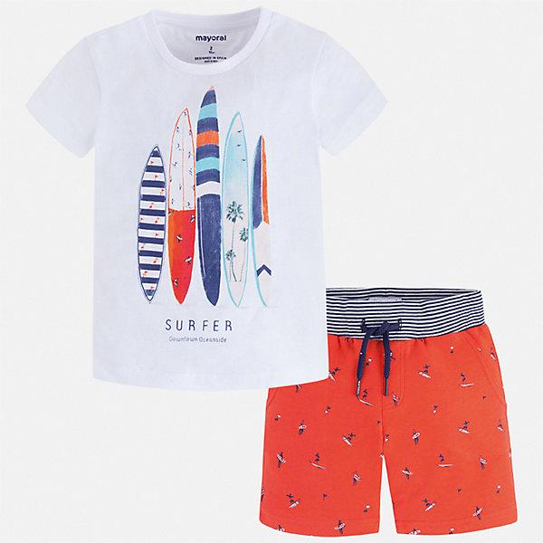 Комплект Mayoral для мальчикаКомплекты<br>Характеристики товара:<br><br>• цвет: белый, синий<br>• комплектация: шорты, футболка<br>• состав ткани: 100% хлопок<br>• сезон: лето<br>• особенности модели: спортивный стиль<br>• пояс: резинка, шнурок<br>• застежка: кнопка<br>• короткие рукава<br>• страна бренда: Испания<br>• неповторимый стиль Mayoral<br><br>Такие футболка с принтом и шорты для мальчика от Майорал помогут обеспечить ребенку комфорт в жаркое время года. В этом детском комплекте - две стильные вещи, которые отлично сочетаются и с другой одеждой. В футболке и шортах для мальчика от испанской компании Майорал ребенок будет выглядеть модно, а чувствовать себя - удобно. <br><br>Комплект Mayoral (Майорал) для мальчика можно купить в нашем интернет-магазине.<br>Ширина мм: 215; Глубина мм: 88; Высота мм: 191; Вес г: 336; Цвет: бежевый; Возраст от месяцев: 18; Возраст до месяцев: 24; Пол: Мужской; Возраст: Детский; Размер: 92,134,128,122,116,110,104,98; SKU: 7543307;