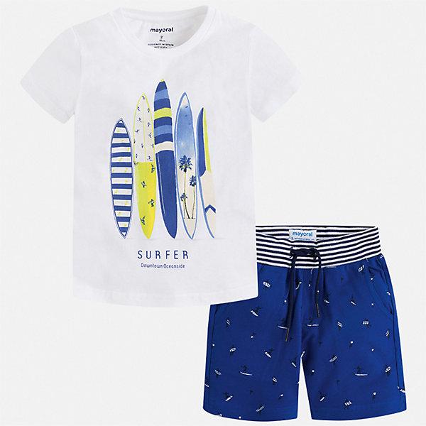 Комплект Mayoral для мальчикаКомплекты<br>Характеристики товара:<br><br>• цвет: белый<br>• комплектация: шорты, футболка<br>• состав ткани: 100% хлопок<br>• сезон: лето<br>• особенности модели: спортивный стиль<br>• пояс: резинка, шнурок<br>• застежка: кнопка<br>• короткие рукава<br>• страна бренда: Испания<br>• неповторимый стиль Mayoral<br><br>Хлопковый комплект - футболка с принтом и шорты для мальчика от Майорал - отлично сочетается между собой, а также с другими вещами. В этом детском комплекте от испанской компании Майорал ребенок будет чувствовать себя удобно, так как футболка и шорты для мальчика сделаны из натурального дышащего хлопка. <br><br>Комплект Mayoral (Майорал) для мальчика можно купить в нашем интернет-магазине.<br>Ширина мм: 215; Глубина мм: 88; Высота мм: 191; Вес г: 336; Цвет: разноцветный; Возраст от месяцев: 18; Возраст до месяцев: 24; Пол: Мужской; Возраст: Детский; Размер: 92,134,128,116,110,104,98,122; SKU: 7543316;