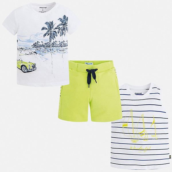 Купить Комплект:боди, футболка, ползунки Mayoral для мальчика, Китай, зеленый, 92, 134, 128, 122, 116, 110, 104, 98, Мужской