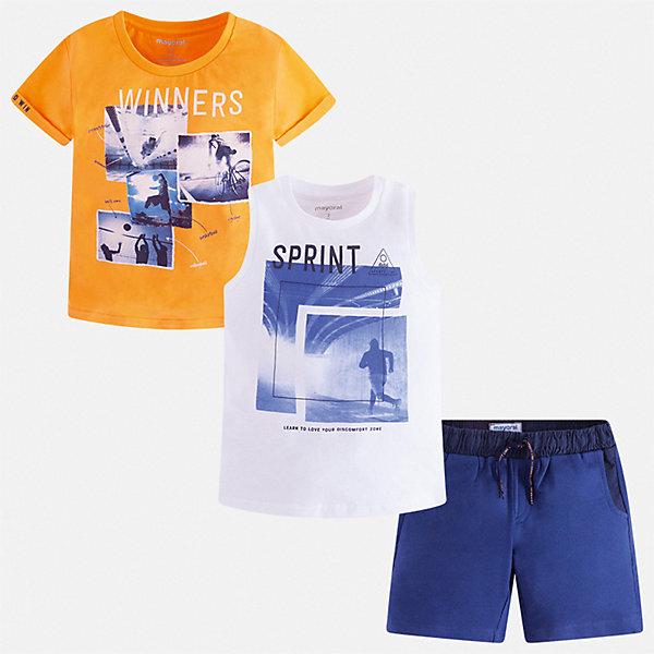 Комплект Mayoral для мальчикаКомплекты<br>Характеристики товара:<br><br>• цвет: белый, желтый<br>• комплектация: шорты, футболка, майка<br>• состав ткани: 100% хлопок<br>• сезон: лето<br>• особенности модели: спортивный стиль<br>• пояс: резинка, шнурок<br>• короткие рукава<br>• страна бренда: Испания<br>• неповторимый стиль Mayoral<br><br>Модные майка, футболка и шорты для мальчика от Майорал - отличный комплект для жаркого времени года. В этом детском комплекте - сразу три качественные и модные вещи. В футболке, майке и шортах для мальчика от испанской компании Майорал ребенок будет чувствовать себя удобно благодаря высокому качеству материала и швов. <br><br>Комплект: шорты, футболка, майка Mayoral (Майорал) для мальчика можно купить в нашем интернет-магазине.<br>Ширина мм: 215; Глубина мм: 88; Высота мм: 191; Вес г: 336; Цвет: синий; Возраст от месяцев: 96; Возраст до месяцев: 108; Пол: Мужской; Возраст: Детский; Размер: 134,92,98,104,110,116,122,128; SKU: 7543379;