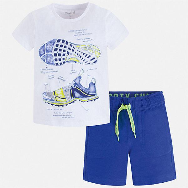Комплект Mayoral для мальчикаКомплекты<br>Характеристики товара:<br><br>• цвет: белый, синий<br>• комплектация: шорты, футболка<br>• состав ткани: 100% хлопок<br>• сезон: лето<br>• особенности модели: спортивный стиль<br>• пояс: резинка, шнурок<br>• застежка: кнопка<br>• короткие рукава<br>• страна бренда: Испания<br>• неповторимый стиль Mayoral<br><br>В этом детском комплекте - две стильные вещи, которые отлично сочетаются и с другой одеждой. Эти футболка с принтом и шорты для мальчика от Майорал помогут обеспечить ребенку комфорт в жаркое время года. В футболке и шортах для мальчика от испанской компании Майорал ребенок будет выглядеть модно, а чувствовать себя - удобно. <br><br>Комплект Mayoral (Майорал) для мальчика можно купить в нашем интернет-магазине.<br>Ширина мм: 215; Глубина мм: 88; Высота мм: 191; Вес г: 336; Цвет: синий; Возраст от месяцев: 18; Возраст до месяцев: 24; Пол: Мужской; Возраст: Детский; Размер: 92,134,128,122,116,110,104,98; SKU: 7543388;