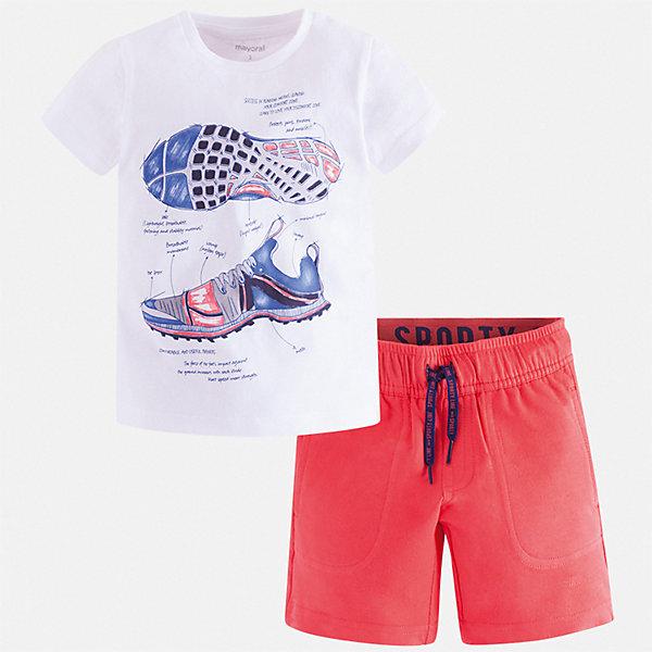 Комплект Mayoral для мальчикаКомплекты<br>Характеристики товара:<br><br>• цвет: белый, красный<br>• комплектация: шорты, футболка<br>• состав ткани: 100% хлопок<br>• сезон: лето<br>• особенности модели: спортивный стиль<br>• пояс: резинка, шнурок<br>• застежка: кнопка<br>• короткие рукава<br>• страна бренда: Испания<br>• неповторимый стиль Mayoral<br><br>В этом детском комплекте от испанской компании Майорал ребенок будет чувствовать себя удобно, так как футболка и шорты для мальчика сделаны из натурального дышащего хлопка. Хлопковый комплект - футболка с принтом и шорты для мальчика от Майорал - отлично сочетается между собой, а также с другими вещами. <br><br>Комплект Mayoral (Майорал) для мальчика можно купить в нашем интернет-магазине.<br>Ширина мм: 215; Глубина мм: 88; Высота мм: 191; Вес г: 336; Цвет: бордовый; Возраст от месяцев: 60; Возраст до месяцев: 72; Пол: Мужской; Возраст: Детский; Размер: 116,110,104,98,92,134,128,122; SKU: 7543397;