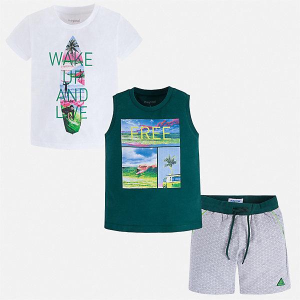 Комплект Mayoral для мальчикаКомплекты<br>Характеристики товара:<br><br>• цвет: белый, зеленый<br>• комплектация: шорты, футболка, майка<br>• состав ткани: 100% хлопок<br>• сезон: лето<br>• особенности модели: спортивный стиль<br>• пояс: резинка, шнурок<br>• короткие рукава<br>• страна бренда: Испания<br>• неповторимый стиль Mayoral<br><br>В этом детском комплекте - сразу три качественные и модные вещи. В футболке, майке и шортах для мальчика от испанской компании Майорал ребенок будет чувствовать себя удобно благодаря высокому качеству материала и швов. Легкие майка, футболка и шорты для мальчика от Майорал - отличный комплект для жаркого времени года. <br><br>Комплект: шорты, футболка, майка Mayoral (Майорал) для мальчика можно купить в нашем интернет-магазине.<br>Ширина мм: 215; Глубина мм: 88; Высота мм: 191; Вес г: 336; Цвет: зеленый; Возраст от месяцев: 18; Возраст до месяцев: 24; Пол: Мужской; Возраст: Детский; Размер: 92,134,128,122,116,110,104,98; SKU: 7543415;