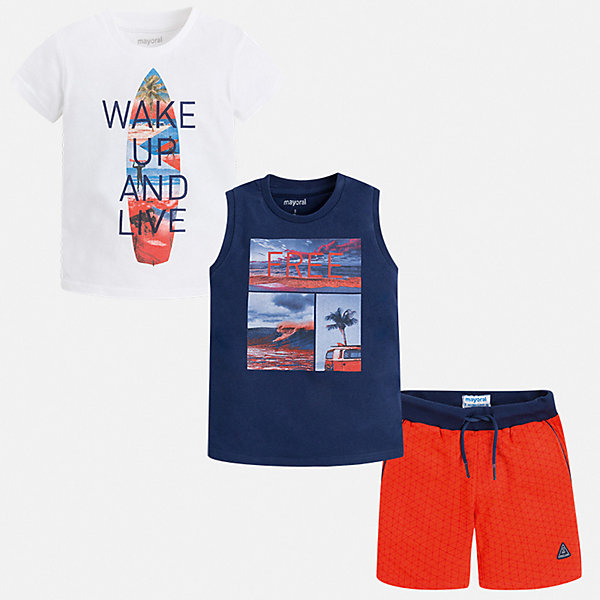 Комплект Mayoral для мальчикаКомплекты<br>Характеристики товара:<br><br>• цвет: белый, красный<br>• комплектация: шорты, футболка, майка<br>• состав ткани: 100% хлопок<br>• сезон: лето<br>• особенности модели: спортивный стиль<br>• пояс: резинка, шнурок<br>• короткие рукава<br>• страна бренда: Испания<br>• неповторимый стиль Mayoral<br><br>Модный комплект - футболка с принтом, майка и шорты для мальчика от Майорал - отлично сочетается между собой, а также с другими вещами. В этом детском наборе - сразу три модные вещи. В футболке, майке и шортах для мальчика от испанской компании Майорал ребенок будет выглядеть модно, а чувствовать себя - удобно. <br><br>Комплект: шорты, футболка, майка Mayoral (Майорал) для мальчика можно купить в нашем интернет-магазине.<br>Ширина мм: 215; Глубина мм: 88; Высота мм: 191; Вес г: 336; Цвет: синий; Возраст от месяцев: 96; Возраст до месяцев: 108; Пол: Мужской; Возраст: Детский; Размер: 134,92,98,104,110,116,122,128; SKU: 7543433;