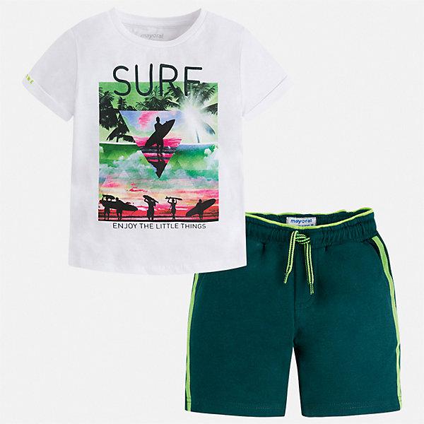 Комплект:Футболка,шорты Mayoral для мальчикаКомплекты<br>Характеристики товара:<br><br>• цвет: белый, зеленый<br>• комплектация: шорты, футболка<br>• состав ткани: 100% хлопок<br>• сезон: лето<br>• особенности модели: спортивный стиль<br>• пояс: резинка, шнурок<br>• застежка: кнопка<br>• короткие рукава<br>• страна бренда: Испания<br>• неповторимый стиль Mayoral<br><br>Принтованная футболка и шорты для мальчика от Майорал помогут обеспечить ребенку комфорт в жаркое время года. В футболке и шортах для мальчика от испанской компании Майорал ребенок будет выглядеть модно, а чувствовать себя - удобно. В этом детском комплекте - две стильные вещи, которые отлично сочетаются и с другой одеждой.<br><br>Комплект Mayoral (Майорал) для мальчика можно купить в нашем интернет-магазине.<br>Ширина мм: 230; Глубина мм: 40; Высота мм: 220; Вес г: 250; Цвет: зеленый; Возраст от месяцев: 18; Возраст до месяцев: 24; Пол: Мужской; Возраст: Детский; Размер: 92,134,128,122,116,110,104,98; SKU: 7543442;
