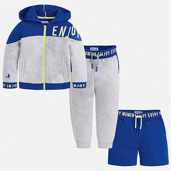Спортивный костюм Mayoral для мальчикаСпортивные костюмы<br>Характеристики товара:<br><br>• цвет: серый<br>• комплектация: шорты, толстовка, брюки<br>• состав ткани: 80% хлопок, 20% полиэстер<br>• сезон: круглый год<br>• особенности модели: спортивный стиль<br>• застежка: молния<br>• пояс: резинка, шнурок<br>• длинные рукава<br>• страна бренда: Испания<br>• неповторимый стиль Mayoral<br><br>Практичный спортивный костюм - шорты, толстовка и брюки для мальчика от Майорал - отлично сочетается между собой, а также с другими вещами. В этом детском спортивном костюме - сразу три модные вещи. В спортивном костюме для мальчика от испанской компании Майорал ребенок будет выглядеть модно, а чувствовать себя - удобно. <br><br>Спортивный костюм Mayoral (Майорал) для мальчика можно купить в нашем интернет-магазине.<br>Ширина мм: 247; Глубина мм: 16; Высота мм: 140; Вес г: 225; Цвет: синий; Возраст от месяцев: 24; Возраст до месяцев: 36; Пол: Мужской; Возраст: Детский; Размер: 98,104,110,116,122,128,134,92; SKU: 7543610;