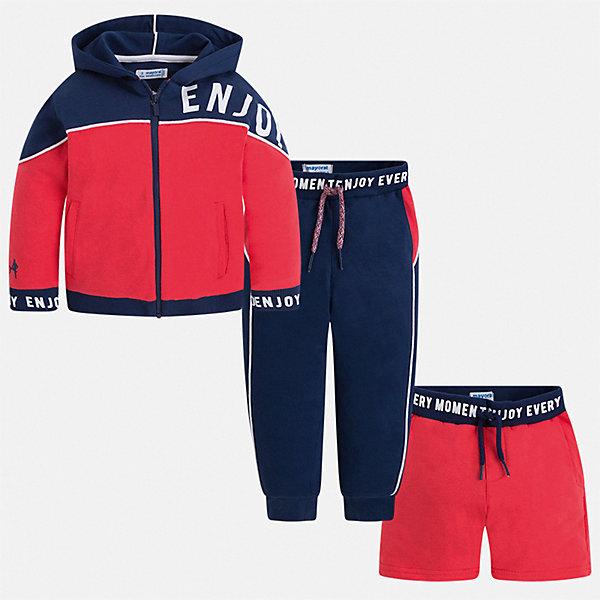 Спортивный костюм Mayoral для мальчикаСпортивная одежда<br>Характеристики товара:<br><br>• цвет: красный<br>• комплектация: шорты, толстовка, брюки<br>• состав ткани: 80% хлопок, 20% полиэстер<br>• сезон: круглый год<br>• особенности модели: спортивный стиль<br>• застежка: молния<br>• пояс: резинка, шнурок<br>• длинные рукава<br>• страна бренда: Испания<br>• неповторимый стиль Mayoral<br><br>Яркие шорты, толстовка и брюки для ребенка от Майорал - отличный комплект для занятия спортом. В этом детском спортивном костюме - сразу три качественные и модные вещи. В спортивном костюме для ребенка от испанской компании Майорал ребенок будет чувствовать себя удобно благодаря высокому качеству материала и швов. <br><br>Спортивный костюм Mayoral (Майорал) для мальчика можно купить в нашем интернет-магазине.<br>Ширина мм: 247; Глубина мм: 16; Высота мм: 140; Вес г: 225; Цвет: бордовый; Возраст от месяцев: 18; Возраст до месяцев: 24; Пол: Мужской; Возраст: Детский; Размер: 92,134,128,122,116,110,104,98; SKU: 7543619;