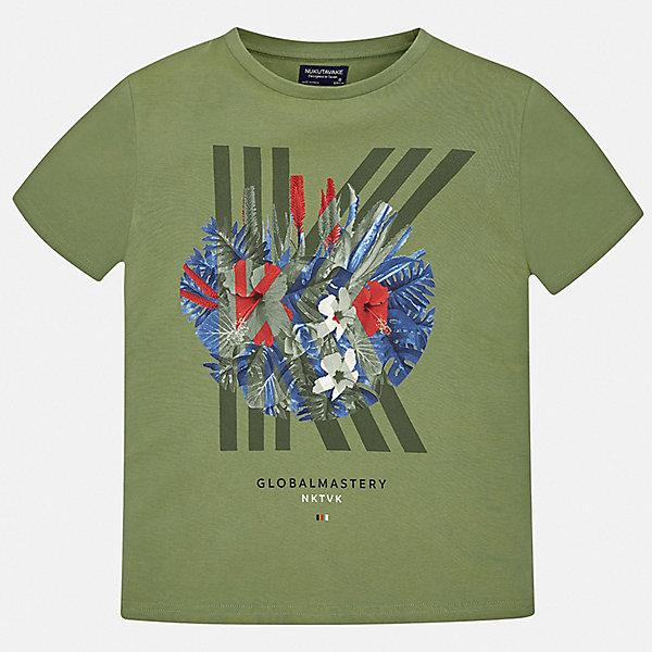 Футболка Mayoral для мальчикаФутболки, поло и топы<br>Характеристики товара:<br><br>• цвет: хаки<br>• состав ткани: 100% хлопок<br>• сезон: лето<br>• короткие рукава<br>• страна бренда: Испания<br>• неповторимый стиль Mayoral<br><br>Стильная футболка для мальчика от Mayoral - универсальная и комфортная базовая вещь для детского гардероба. Хлопковая детская футболка сделана из натуральной трикотажной ткани, которая обеспечивает ребенку комфорт. Детская футболка поможет создать модный и удобный наряд для ребенка. <br><br>Футболку Mayoral (Майорал) для мальчика можно купить в нашем интернет-магазине.<br>Ширина мм: 199; Глубина мм: 10; Высота мм: 161; Вес г: 151; Цвет: зеленый; Возраст от месяцев: 96; Возраст до месяцев: 108; Пол: Мужской; Возраст: Детский; Размер: 128/134,170,164,158,152,140; SKU: 7543672;