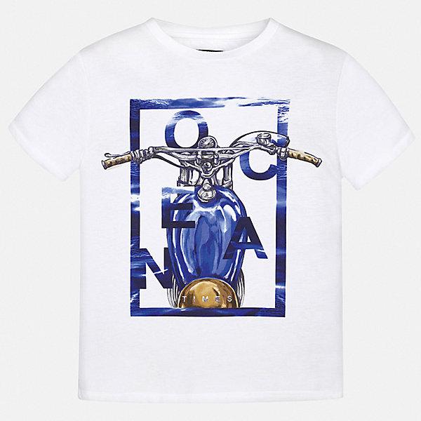 Футболка Mayoral для мальчикаФутболки, поло и топы<br>Характеристики товара:<br><br>• цвет: белый<br>• состав ткани: 100% хлопок<br>• сезон: лето<br>• короткие рукава<br>• страна бренда: Испания<br>• неповторимый стиль Mayoral<br><br>Комфортная детская футболка с коротким рукавом украшена эффектным принтом от ведущих дизайнеров испанского бренда Mayoral. Края детской футболки обработаны мягкими швами. Такая футболка для мальчика отличается модным дизайном.<br><br>Футболку Mayoral (Майорал) для мальчика можно купить в нашем интернет-магазине.<br>Ширина мм: 199; Глубина мм: 10; Высота мм: 161; Вес г: 151; Цвет: синий; Возраст от месяцев: 96; Возраст до месяцев: 108; Пол: Мужской; Возраст: Детский; Размер: 128/134,158,152,140,170,164; SKU: 7543686;