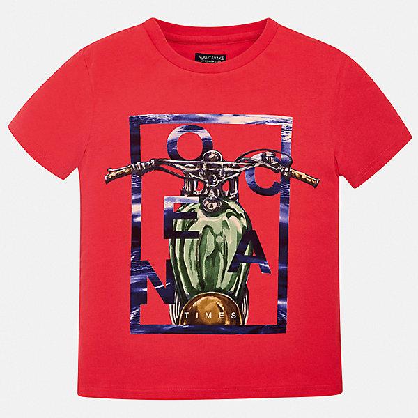 Футболка Mayoral для мальчикаФутболки, поло и топы<br>Характеристики товара:<br><br>• цвет: красный<br>• состав ткани: 100% хлопок<br>• сезон: лето<br>• короткие рукава<br>• страна бренда: Испания<br>• неповторимый стиль Mayoral<br><br>Яркая футболка для мальчика от Mayoral - универсальная и комфортная базовая вещь для детского гардероба. Хлопковая детская футболка сделана из натуральной трикотажной ткани, которая обеспечивает ребенку комфорт. Детская футболка поможет создать модный и удобный наряд для ребенка. <br><br>Футболку Mayoral (Майорал) для мальчика можно купить в нашем интернет-магазине.<br>Ширина мм: 199; Глубина мм: 10; Высота мм: 161; Вес г: 151; Цвет: бордовый; Возраст от месяцев: 168; Возраст до месяцев: 180; Пол: Мужской; Возраст: Детский; Размер: 170,128/134,140,152,158,164; SKU: 7543693;