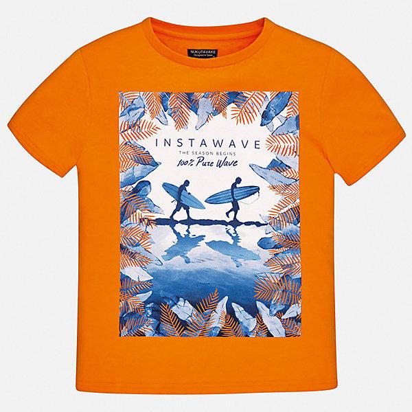 Футболка Mayoral для мальчикаФутболки, поло и топы<br>Характеристики товара:<br><br>• цвет: оранжевый<br>• состав ткани: 100% хлопок<br>• сезон: лето<br>• короткие рукава<br>• страна бренда: Испания<br>• неповторимый стиль Mayoral<br><br>Эта детская футболка с коротким рукавом украшена эффектным принтом от ведущих дизайнеров испанского бренда Mayoral. Эта футболка для мальчика отличается модным дизайном. Края детской футболки обработаны мягкими швами. <br><br>Футболку Mayoral (Майорал) для мальчика можно купить в нашем интернет-магазине.<br>Ширина мм: 199; Глубина мм: 10; Высота мм: 161; Вес г: 151; Цвет: оранжевый; Возраст от месяцев: 96; Возраст до месяцев: 108; Пол: Мужской; Возраст: Детский; Размер: 128/134,170,164,158,152,140; SKU: 7543889;