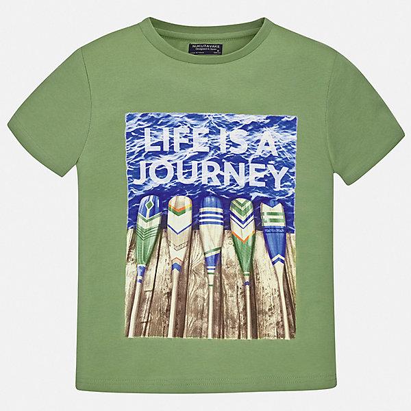 Футболка Mayoral для мальчикаФутболки, поло и топы<br>Характеристики товара:<br><br>• цвет: хаки<br>• состав ткани: 100% хлопок<br>• сезон: лето<br>• короткие рукава<br>• страна бренда: Испания<br>• неповторимый стиль Mayoral<br><br>Трикотажная футболка для мальчика создана дизайнерами бренда Mayoral с учетом потребностей детей. Края детской футболки обработаны мягкими швами. Эта детская футболка с коротким рукавом украшена эффектным принтом от ведущих дизайнеров испанского бренда Mayoral. <br><br>Футболку Mayoral (Майорал) для мальчика можно купить в нашем интернет-магазине.<br>Ширина мм: 199; Глубина мм: 10; Высота мм: 161; Вес г: 151; Цвет: зеленый; Возраст от месяцев: 168; Возраст до месяцев: 180; Пол: Мужской; Возраст: Детский; Размер: 170,128/134,140,152,158,164; SKU: 7543910;