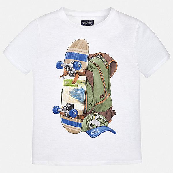 Футболка Mayoral для мальчикаФутболки, топы<br>Характеристики товара:<br><br>• цвет: белый<br>• состав ткани: 100% хлопок<br>• сезон: лето<br>• короткие рукава<br>• страна бренда: Испания<br>• неповторимый стиль Mayoral<br><br>Модная футболка для мальчика создана дизайнерами бренда Mayoral с учетом потребностей детей. Края детской футболки обработаны мягкими швами. Эта детская футболка с коротким рукавом украшена эффектным принтом от ведущих дизайнеров испанского бренда Mayoral. <br><br>Футболку Mayoral (Майорал) для мальчика можно купить в нашем интернет-магазине.<br>Ширина мм: 199; Глубина мм: 10; Высота мм: 161; Вес г: 151; Цвет: белый; Возраст от месяцев: 96; Возраст до месяцев: 108; Пол: Мужской; Возраст: Детский; Размер: 128/134,170,164,158,152,140; SKU: 7543952;