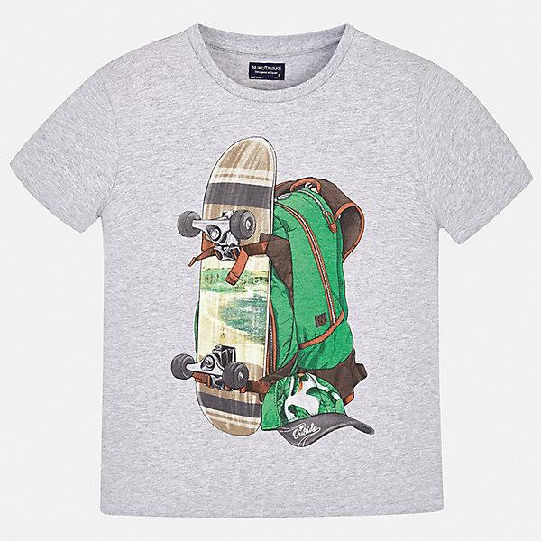 Футболка Mayoral для мальчикаФутболки, поло и топы<br>Характеристики товара:<br><br>• цвет: серый<br>• состав ткани: 100% хлопок<br>• сезон: лето<br>• короткие рукава<br>• страна бренда: Испания<br>• неповторимый стиль Mayoral<br><br>Трикотажная футболка для мальчика от Mayoral - универсальная и комфортная базовая вещь для детского гардероба. Такая детская футболка поможет создать модный и удобный наряд для ребенка. Хлопковая детская футболка сделана из натуральной трикотажной ткани, которая обеспечивает ребенку комфорт. <br><br>Футболку Mayoral (Майорал) для мальчика можно купить в нашем интернет-магазине.<br>Ширина мм: 199; Глубина мм: 10; Высота мм: 161; Вес г: 151; Цвет: серый; Возраст от месяцев: 108; Возраст до месяцев: 120; Пол: Мужской; Возраст: Детский; Размер: 140,170,164,158,152,128/134; SKU: 7543959;