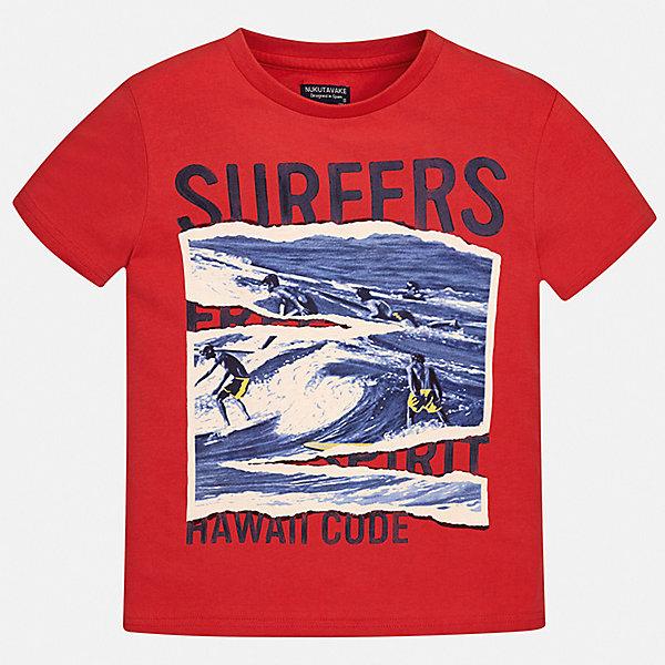 Футболка Mayoral для мальчикаФутболки, поло и топы<br>Характеристики товара:<br><br>• цвет: красный<br>• состав ткани: 100% хлопок<br>• сезон: лето<br>• короткие рукава<br>• страна бренда: Испания<br>• неповторимый стиль Mayoral<br><br>Яркая детская футболка с коротким рукавом украшена эффектным принтом от ведущих дизайнеров испанского бренда Mayoral. Модная футболка для мальчика создана дизайнерами бренда Mayoral с учетом потребностей детей. Края детской футболки обработаны мягкими швами.<br><br>Футболку Mayoral (Майорал) для мальчика можно купить в нашем интернет-магазине.<br>Ширина мм: 199; Глубина мм: 10; Высота мм: 161; Вес г: 151; Цвет: красный; Возраст от месяцев: 156; Возраст до месяцев: 168; Пол: Мужской; Возраст: Детский; Размер: 164,158,152,140,128/134,170; SKU: 7543994;