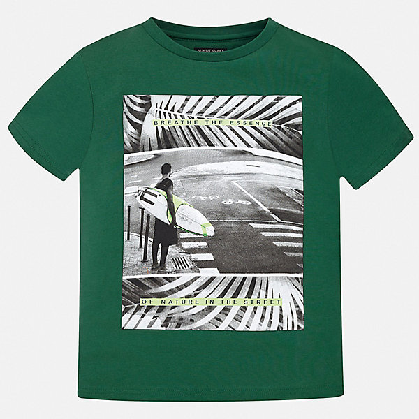 Футболка Mayoral для мальчикаФутболки, поло и топы<br>Характеристики товара:<br><br>• цвет: зеленый<br>• состав ткани: 100% хлопок<br>• сезон: лето<br>• короткие рукава<br>• страна бренда: Испания<br>• неповторимый стиль Mayoral<br><br>Такая футболка для мальчика отличается модным дизайном. Комфортная детская футболка с коротким рукавом украшена эффектным принтом от ведущих дизайнеров испанского бренда Mayoral. Края детской футболки обработаны мягкими швами. <br><br>Футболку Mayoral (Майорал) для мальчика можно купить в нашем интернет-магазине.<br>Ширина мм: 199; Глубина мм: 10; Высота мм: 161; Вес г: 151; Цвет: зеленый; Возраст от месяцев: 156; Возраст до месяцев: 168; Пол: Мужской; Возраст: Детский; Размер: 164,158,152,140,128/134,170; SKU: 7544050;
