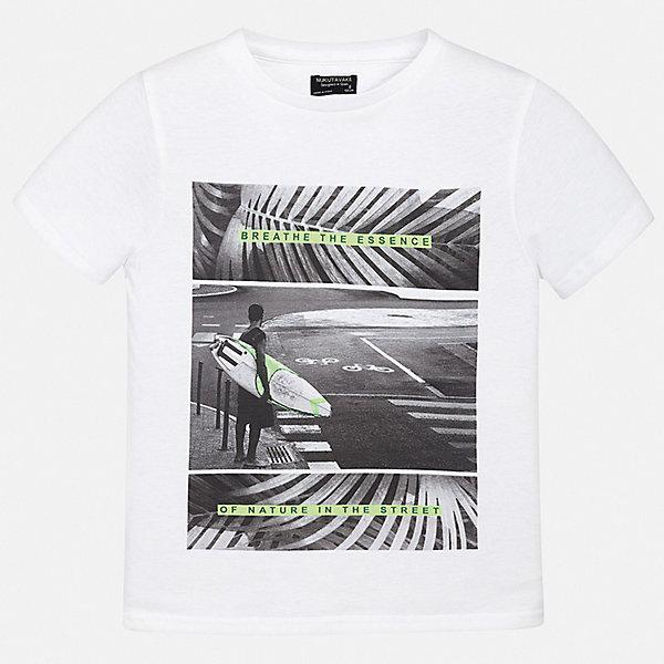 Футболка Mayoral для мальчикаФутболки, топы<br>Характеристики товара:<br><br>• цвет: белый<br>• состав ткани: 100% хлопок<br>• сезон: лето<br>• короткие рукава<br>• страна бренда: Испания<br>• неповторимый стиль Mayoral<br><br>Трикотажная детская футболка поможет создать модный и удобный наряд для ребенка. Эта футболка для мальчика от Mayoral - универсальная и комфортная базовая вещь для детского гардероба. Хлопковая детская футболка сделана из натуральной трикотажной ткани, которая обеспечивает ребенку комфорт. <br><br>Футболку Mayoral (Майорал) для мальчика можно купить в нашем интернет-магазине.<br>Ширина мм: 199; Глубина мм: 10; Высота мм: 161; Вес г: 151; Цвет: белый; Возраст от месяцев: 96; Возраст до месяцев: 108; Пол: Мужской; Возраст: Детский; Размер: 128/134,158,170,164,152,140; SKU: 7544057;