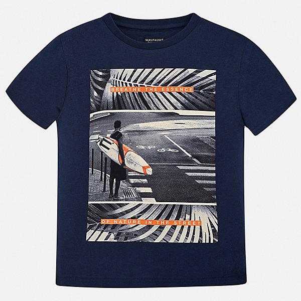 Футболка Mayoral для мальчикаФутболки, поло и топы<br>Характеристики товара:<br><br>• цвет: синий<br>• состав ткани: 100% хлопок<br>• сезон: лето<br>• короткие рукава<br>• страна бренда: Испания<br>• неповторимый стиль Mayoral<br><br>Комфортная хлопковая футболка для мальчика от Майорал поможет обеспечить ребенку комфорт. В футболке для мальчика от испанской компании Майорал ребенок будет чувствовать себя удобно благодаря качественным швам и натуральному материалу. Трикотажная детская футболка отлично сочетается с различными брюками и шортами. <br><br>Футболку Mayoral (Майорал) для мальчика можно купить в нашем интернет-магазине.<br>Ширина мм: 199; Глубина мм: 10; Высота мм: 161; Вес г: 151; Цвет: синий; Возраст от месяцев: 168; Возраст до месяцев: 180; Пол: Мужской; Возраст: Детский; Размер: 170,128/134,140,152,158,164; SKU: 7544064;