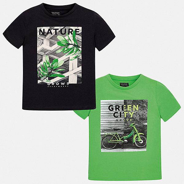 Комплект:2 футболки Mayoral для мальчикаКомплекты<br>Характеристики товара:<br><br>• цвет: зеленый, черный<br>• комплектация: 2 шт<br>• состав ткани: 100% хлопок<br>• сезон: лето<br>• короткие рукава<br>• страна бренда: Испания<br>• неповторимый стиль Mayoral<br><br>В таком комплекте - сразу две удобных детских футболки. В футболке для мальчика от испанской компании Майорал ребенок будет выглядеть модно, а чувствовать себя - удобно. Трикотажная футболка с принтом для мальчика от Майорал поможет обеспечить ребенку комфорт. <br><br>Комплект: 2 футболки Mayoral (Майорал) для мальчика можно купить в нашем интернет-магазине.<br>Ширина мм: 199; Глубина мм: 10; Высота мм: 161; Вес г: 151; Цвет: серый; Возраст от месяцев: 96; Возраст до месяцев: 108; Пол: Мужской; Возраст: Детский; Размер: 170,164,158,152,140,128/134; SKU: 7544085;