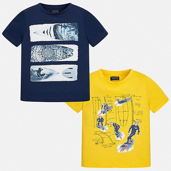 Комплект:2 футболки Mayoral для мальчикаКомплекты<br>Характеристики товара:<br><br>• цвет: синий, желтый<br>• комплектация: 2 шт<br>• состав ткани: 100% хлопок<br>• сезон: лето<br>• короткие рукава<br>• страна бренда: Испания<br>• неповторимый стиль Mayoral<br><br>Каждая детская футболка с коротким рукавом из этого набора декорирована стильным принтом. Благодаря продуманному крою детских футболок создаются комфортные условия для тела. Обе футболки для мальчика отличаются модным дизайном. <br><br>Комплект: 2 футболки Mayoral (Майорал) для мальчика можно купить в нашем интернет-магазине.<br>Ширина мм: 199; Глубина мм: 10; Высота мм: 161; Вес г: 151; Цвет: синий; Возраст от месяцев: 96; Возраст до месяцев: 108; Пол: Мужской; Возраст: Детский; Размер: 128/134,170,164,158,152,140; SKU: 7544092;