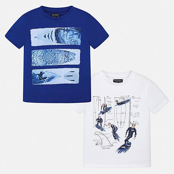 Комплект:2 футболки Mayoral для мальчикаКомплекты<br>Характеристики товара:<br><br>• цвет: синий, белый<br>• комплектация: 2 шт<br>• состав ткани: 100% хлопок<br>• сезон: лето<br>• короткие рукава<br>• страна бренда: Испания<br>• неповторимый стиль Mayoral<br><br>Трикотажная футболка с принтом для мальчика от Майорал поможет обеспечить ребенку комфорт. В таком комплекте - сразу две удобных детских футболки. В футболке для мальчика от испанской компании Майорал ребенок будет выглядеть модно, а чувствовать себя - удобно. <br><br>Комплект: 2 футболки Mayoral (Майорал) для мальчика можно купить в нашем интернет-магазине.<br>Ширина мм: 199; Глубина мм: 10; Высота мм: 161; Вес г: 151; Цвет: разноцветный; Возраст от месяцев: 96; Возраст до месяцев: 108; Пол: Мужской; Возраст: Детский; Размер: 128/134,170,164,158,152,140; SKU: 7544106;