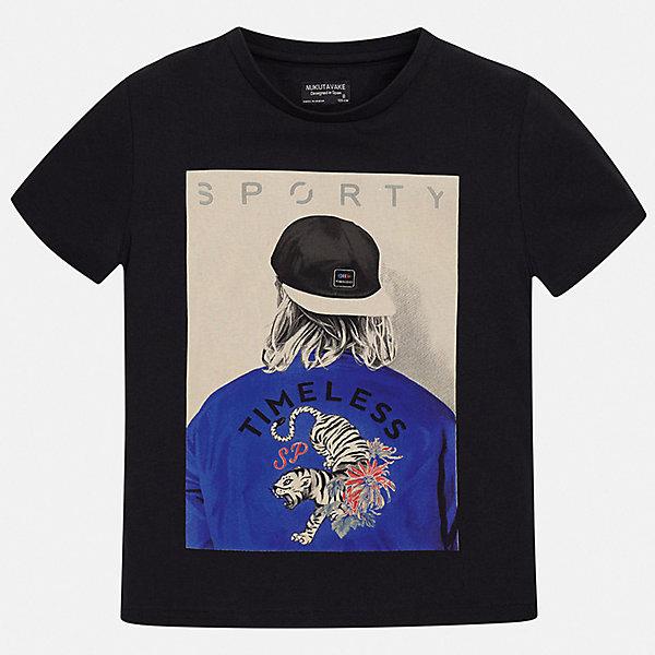Футболка Mayoral для мальчикаФутболки, поло и топы<br>Характеристики товара:<br><br>• цвет: черный<br>• состав ткани: 100% хлопок<br>• сезон: лето<br>• короткие рукава<br>• страна бренда: Испания<br>• неповторимый стиль Mayoral<br><br>Стильная детская футболка поможет создать модный и удобный наряд для ребенка. Эта футболка для мальчика от Mayoral - универсальная и комфортная базовая вещь для детского гардероба. Хлопковая детская футболка сделана из натуральной трикотажной ткани, которая обеспечивает ребенку комфорт. <br><br>Футболку Mayoral (Майорал) для мальчика можно купить в нашем интернет-магазине.<br>Ширина мм: 199; Глубина мм: 10; Высота мм: 161; Вес г: 151; Цвет: черный; Возраст от месяцев: 96; Возраст до месяцев: 108; Пол: Мужской; Возраст: Детский; Размер: 128/134,170,164,158,152,140; SKU: 7544113;