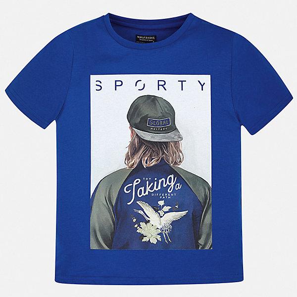 Футболка Mayoral для мальчикаФутболки, поло и топы<br>Характеристики товара:<br><br>• цвет: синий<br>• состав ткани: 100% хлопок<br>• сезон: лето<br>• короткие рукава<br>• страна бренда: Испания<br>• неповторимый стиль Mayoral<br><br>Хлопковая футболка для мальчика от Майорал поможет обеспечить ребенку комфорт. В футболке для мальчика от испанской компании Майорал ребенок будет чувствовать себя удобно благодаря качественным швам и натуральному материалу. Трикотажная детская футболка отлично сочетается с различными брюками и шортами. <br><br>Футболку Mayoral (Майорал) для мальчика можно купить в нашем интернет-магазине.<br>Ширина мм: 199; Глубина мм: 10; Высота мм: 161; Вес г: 151; Цвет: разноцветный; Возраст от месяцев: 96; Возраст до месяцев: 108; Пол: Мужской; Возраст: Детский; Размер: 128/134,170,164,158,152,140; SKU: 7544120;