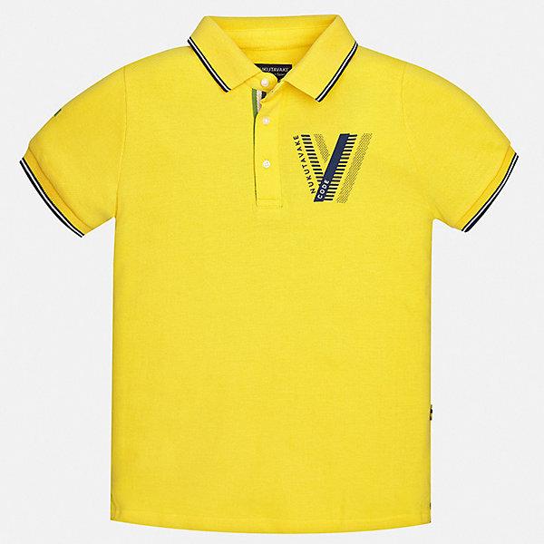 Рубашка-поло Mayoral для мальчикаФутболки, поло и топы<br>Характеристики товара:<br><br>• цвет: желтый<br>• состав ткани: 100% хлопок<br>• сезон: лето<br>• особенности модели: отложной воротник<br>• застежка: пуговицы<br>• короткие рукава<br>• страна бренда: Испания<br>• неповторимый стиль Mayoral <br><br>Эта футболка-поло для мальчика от Mayoral удобно сидит по фигуре. Стильная детская футболка-поло сделана из натуральной хлопковой ткани. Отличный способ обеспечить ребенку комфорт и стильный вид - надеть детскую футболку-поло от Mayoral. Детская футболка-поло сшита из приятного на ощупь материала. <br><br>Футболку-поло Mayoral (Майорал) для мальчика можно купить в нашем интернет-магазине.<br>Ширина мм: 174; Глубина мм: 10; Высота мм: 169; Вес г: 157; Цвет: желтый; Возраст от месяцев: 156; Возраст до месяцев: 168; Пол: Мужской; Возраст: Детский; Размер: 128/134,140,152,158,164; SKU: 7544169;