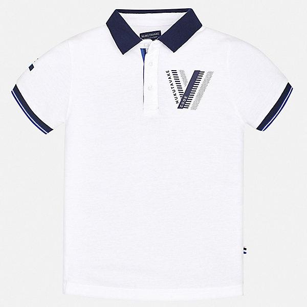 Купить Рубашка-поло Mayoral для мальчика, Китай, белый, 128/134, 170, 164, 158, 152, 140, Мужской