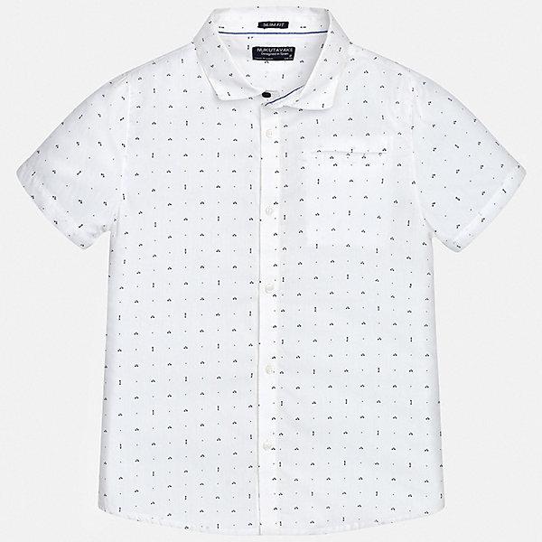 Рубашка Mayoral для мальчикаБлузки и рубашки<br>Характеристики товара:<br><br>• цвет: белый<br>• состав ткани: 100% хлопок<br>• сезон: лето<br>• застежка: пуговицы<br>• короткие рукава<br>• страна бренда: Испания<br>• неповторимый стиль Mayoral<br><br>Легкая рубашка с коротким рукавом для мальчика Mayoral удобно сидит по фигуре. Стильная детская рубашка сделана из натуральной хлопковой ткани. Детскую рубашку от Mayoral можно удачно комбинировать с различными вещами. Детская рубашка с коротким рукавом сшита из приятного на ощупь материала, который позволяет коже дышать. <br><br>Рубашку Mayoral (Майорал) для мальчика можно купить в нашем интернет-магазине.<br>Ширина мм: 174; Глубина мм: 10; Высота мм: 169; Вес г: 157; Цвет: белый; Возраст от месяцев: 168; Возраст до месяцев: 180; Пол: Мужской; Возраст: Детский; Размер: 170,128/134,140,152,158,164; SKU: 7544328;