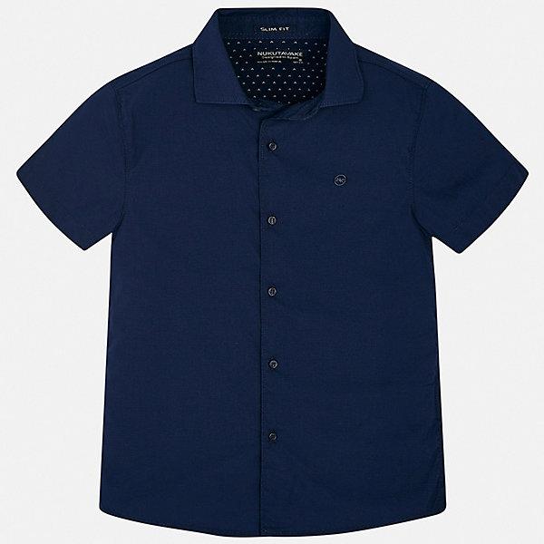 Рубашка Mayoral для мальчикаБлузки и рубашки<br>Характеристики товара:<br><br>• цвет: синий<br>• состав ткани: 73% хлопок, 24% полиамид, 3% эластан <br>• сезон: лето<br>• застежка: пуговицы<br>• короткие рукава<br>• страна бренда: Испания<br>• неповторимый стиль Mayoral<br><br>Практичная рубашка с коротким рукавом для мальчика Mayoral удобно сидит по фигуре. Стильная детская рубашка сделана из натуральной хлопковой ткани. Детскую рубашку от Mayoral можно удачно комбинировать с различными вещами. Детская рубашка с коротким рукавом сшита из приятного на ощупь материала, который позволяет коже дышать. <br><br>Рубашку Mayoral (Майорал) для мальчика можно купить в нашем интернет-магазине.<br>Ширина мм: 174; Глубина мм: 10; Высота мм: 169; Вес г: 157; Цвет: синий; Возраст от месяцев: 96; Возраст до месяцев: 108; Пол: Мужской; Возраст: Детский; Размер: 128/134,170,164,158,152,140; SKU: 7544349;