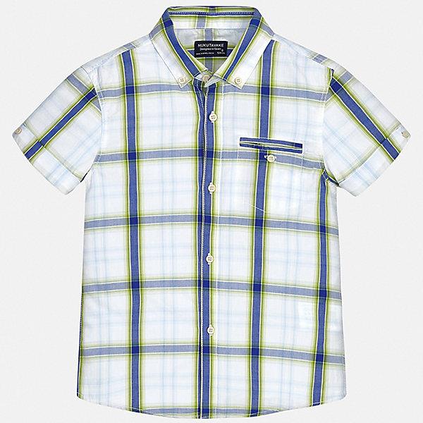 Рубашка Mayoral для мальчикаБлузки и рубашки<br>Характеристики товара:<br><br>• цвет: синий<br>• состав ткани: 100% хлопок<br>• сезон: лето<br>• застежка: пуговицы<br>• короткие рукава<br>• страна бренда: Испания<br>• неповторимый стиль Mayoral<br><br>Клетчатая рубашка с коротким рукавом для мальчика отличается высоким качеством швов и материала. Такая детская рубашка сделана из дышащего приятного на ощупь материала. Благодаря качественному крою детской рубашки создаются комфортные условия для тела. <br><br>Рубашку Mayoral (Майорал) для мальчика можно купить в нашем интернет-магазине.<br>Ширина мм: 174; Глубина мм: 10; Высота мм: 169; Вес г: 157; Цвет: зеленый; Возраст от месяцев: 96; Возраст до месяцев: 108; Пол: Мужской; Возраст: Детский; Размер: 128/134,170,164,158,152,140; SKU: 7544384;