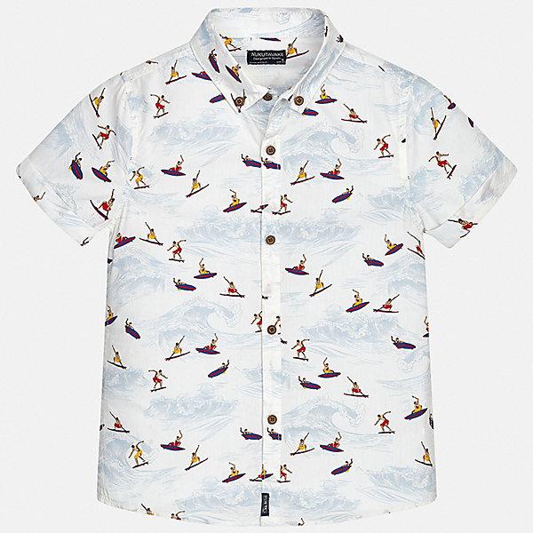Рубашка Mayoral для мальчикаБлузки и рубашки<br>Характеристики товара:<br><br>• цвет: белый<br>• состав ткани: 100% хлопок<br>• сезон: лето<br>• застежка: пуговицы<br>• короткие рукава<br>• страна бренда: Испания<br>• неповторимый стиль Mayoral<br><br>Принтованную детскую рубашку от Mayoral можно удачно комбинировать с различными вещами. Детская рубашка с коротким рукавом сшита из приятного на ощупь материала, который позволяет коже дышать. Легкая рубашка с коротким рукавом для мальчика Mayoral удобно сидит по фигуре. Стильная детская рубашка сделана из натуральной хлопковой ткани. <br><br>Рубашку Mayoral (Майорал) для мальчика можно купить в нашем интернет-магазине.<br>Ширина мм: 174; Глубина мм: 10; Высота мм: 169; Вес г: 157; Цвет: белый; Возраст от месяцев: 168; Возраст до месяцев: 180; Пол: Мужской; Возраст: Детский; Размер: 170,128/134,140,152,158,164; SKU: 7544391;