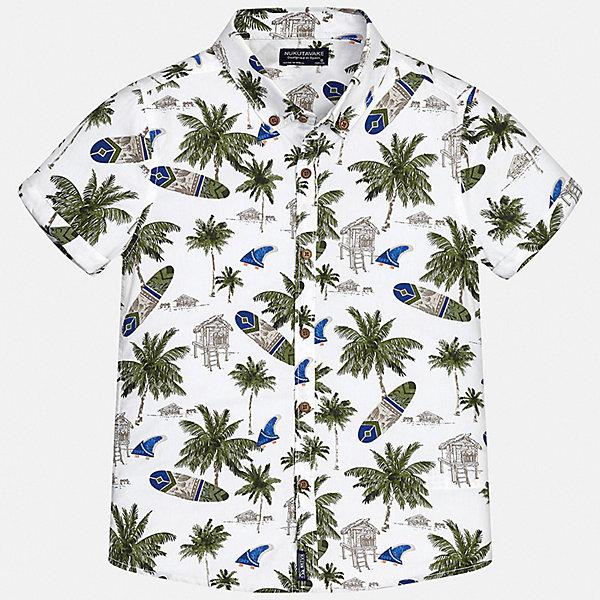 Рубашка Mayoral для мальчикаБлузки и рубашки<br>Характеристики товара:<br><br>• цвет: белый<br>• состав ткани: 100% хлопок<br>• сезон: лето<br>• застежка: пуговицы<br>• короткие рукава<br>• страна бренда: Испания<br>• неповторимый стиль Mayoral<br><br>Хлопковая детская рубашка отличается модным и продуманным дизайном. В рубашке для мальчика от испанской компании Майорал ребенок будет выглядеть оригинально и аккуратно. Такая рубашка для мальчика от Майорал поможет создать стильный и удобный наряд. <br><br>Рубашку Mayoral (Майорал) для мальчика можно купить в нашем интернет-магазине.<br>Ширина мм: 174; Глубина мм: 10; Высота мм: 169; Вес г: 157; Цвет: белый; Возраст от месяцев: 96; Возраст до месяцев: 108; Пол: Мужской; Возраст: Детский; Размер: 128/134,170,164,158,152,140; SKU: 7544398;