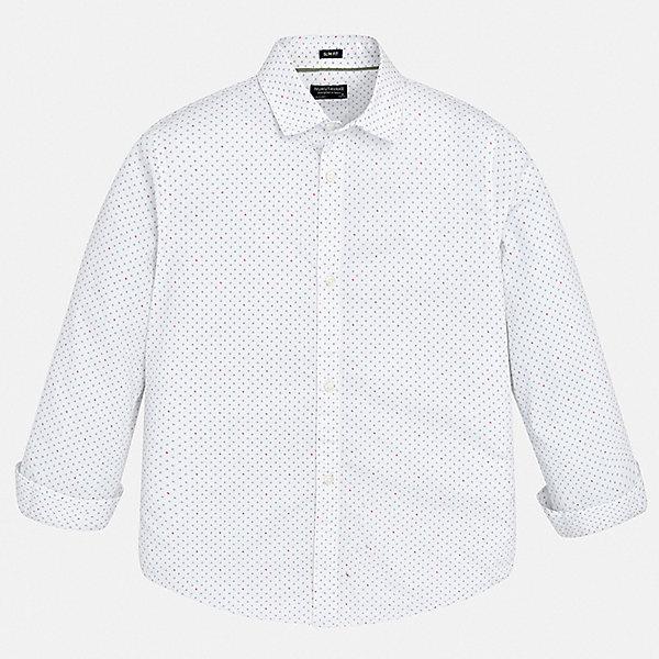 Рубашка Mayoral для мальчикаОдежда<br>Характеристики товара:<br><br>• цвет: белый<br>• состав ткани: 100% хлопок<br>• сезон: круглый год<br>• застежка: пуговицы<br>• длинные рукава<br>• страна бренда: Испания<br>• неповторимый стиль Mayoral<br><br>Стильная детская рубашка отличается модным и продуманным дизайном. В рубашке для мальчика от испанской компании Майорал ребенок будет выглядеть оригинально и аккуратно. Такая рубашка для мальчика от Майорал поможет создать стильный и удобный наряд. <br><br>Рубашку Mayoral (Майорал) для мальчика можно купить в нашем интернет-магазине.<br>Ширина мм: 174; Глубина мм: 10; Высота мм: 169; Вес г: 157; Цвет: белый; Возраст от месяцев: 96; Возраст до месяцев: 108; Пол: Мужской; Возраст: Детский; Размер: 128/134,170,164,158,140,152; SKU: 7544419;