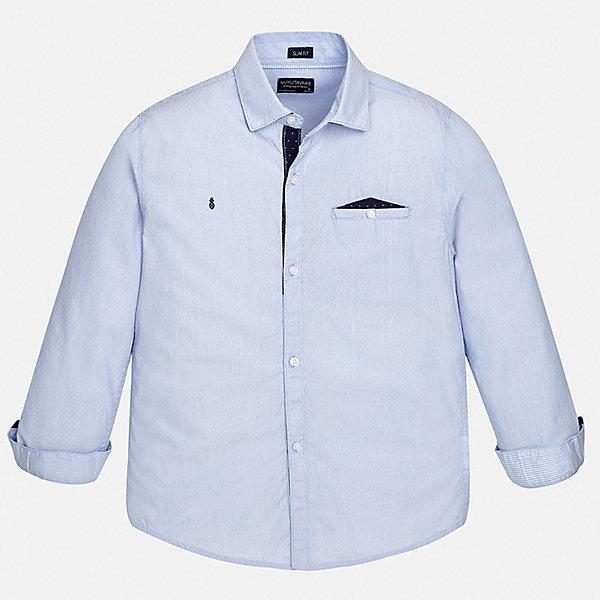 Рубашка Mayoral для мальчикаБлузки и рубашки<br>Характеристики товара:<br><br>• цвет: голубой<br>• состав ткани: 100% хлопок<br>• сезон: круглый год<br>• застежка: пуговицы<br>• длинные рукава<br>• страна бренда: Испания<br>• неповторимый стиль Mayoral<br><br>Голубая детская рубашка сделана из дышащего приятного на ощупь материала. Благодаря качественному крою детской рубашки создаются комфортные условия для тела. Эта рубашка с коротким рукавом для мальчика отличается высоким качеством швов и материала. <br><br>Рубашку Mayoral (Майорал) для мальчика можно купить в нашем интернет-магазине.<br>Ширина мм: 174; Глубина мм: 10; Высота мм: 169; Вес г: 157; Цвет: голубой; Возраст от месяцев: 108; Возраст до месяцев: 120; Пол: Мужской; Возраст: Детский; Размер: 140,128/134,170,164,158,152; SKU: 7544426;