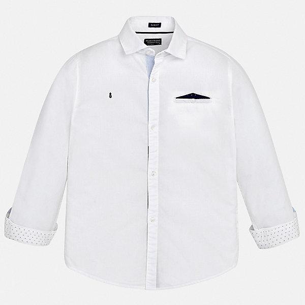 Рубашка Mayoral для мальчикаБлузки и рубашки<br>Характеристики товара:<br><br>• цвет: белый<br>• состав ткани: 100% хлопок<br>• сезон: круглый год<br>• застежка: пуговицы<br>• длинные рукава<br>• страна бренда: Испания<br>• неповторимый стиль Mayoral<br><br>Белую детскую рубашку от Mayoral можно удачно комбинировать с различными вещами. Детская рубашка сшита из приятного на ощупь материала, который позволяет коже дышать. Легкая рубашка для мальчика Mayoral удобно сидит по фигуре. Стильная детская рубашка сделана из натуральной хлопковой ткани. <br><br>Рубашку Mayoral (Майорал) для мальчика можно купить в нашем интернет-магазине.<br>Ширина мм: 174; Глубина мм: 10; Высота мм: 169; Вес г: 157; Цвет: белый; Возраст от месяцев: 168; Возраст до месяцев: 180; Пол: Мужской; Возраст: Детский; Размер: 170,128/134,140,152,158,164; SKU: 7544433;