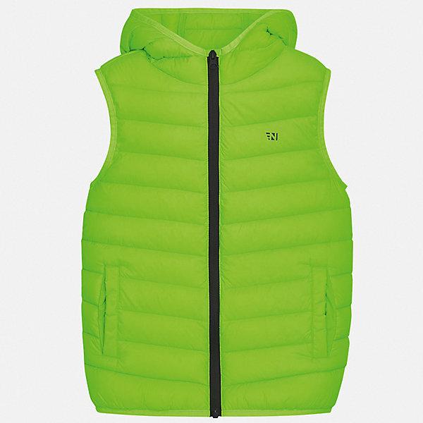 Жилет Mayoral для мальчикаВерхняя одежда<br>Характеристики товара:<br><br>• цвет: зеленый<br>• состав ткани: 100% полиэстер<br>• подкладка: 100% полиэстер<br>• утеплитель: 100% полиэстер<br>• сезон: демисезон<br>• особенности модели: спортивный стиль<br>• застежка: молния<br>• страна бренда: Испания<br>• неповторимый стиль Mayoral<br><br>Яркий детский жилет отлично подойдет для переменной погоды. Хороший способ обеспечить ребенку тепло и комфорт - надеть теплый жилет от Mayoral. Детский жилет сшит из приятного на ощупь материала. Жилет для мальчика Mayoral дополнен утеплителем и подкладкой.<br><br>Жилет Mayoral (Майорал) для мальчика можно купить в нашем интернет-магазине.<br>Ширина мм: 190; Глубина мм: 74; Высота мм: 229; Вес г: 236; Цвет: зеленый; Возраст от месяцев: 96; Возраст до месяцев: 108; Пол: Мужской; Возраст: Детский; Размер: 128/134,170,164,158,152,140; SKU: 7544726;