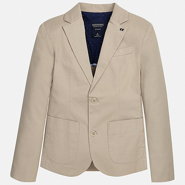Пиджак Mayoral для мальчикаКостюмы и пиджаки<br>Характеристики товара:<br><br>• цвет: бежевый<br>• состав ткани: 97% хлопок, 3% эластан<br>• сезон: демисезон<br>• особенности модели: школьная<br>• длинные рукава<br>• застежка: пуговицы<br>• страна бренда: Испания<br>• неповторимый стиль Mayoral<br><br>Классический детский пиджак сшит из приятного на ощупь материала, преимущественно имеющего в составе натуральный хлопок. Пиджак для мальчика Mayoral дополнен карманами и пуговицами. Пиджак для ребенка отличается стильным силуэтом. Детский пиджак обеспечит ребенку аккуратный внешний вид. <br><br>Пиджак Mayoral (Майорал) для мальчика можно купить в нашем интернет-магазине.<br>Ширина мм: 190; Глубина мм: 74; Высота мм: 229; Вес г: 236; Цвет: коричневый; Возраст от месяцев: 168; Возраст до месяцев: 180; Пол: Мужской; Возраст: Детский; Размер: 170,164,158,152,140,128/134; SKU: 7544747;