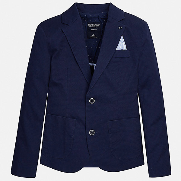 Пиджак Mayoral для мальчикаКостюмы и пиджаки<br>Характеристики товара:<br><br>• цвет: синий<br>• состав ткани: 97% хлопок, 3% эластан<br>• сезон: демисезон<br>• особенности модели: школьная<br>• длинные рукава<br>• застежка: пуговицы<br>• страна бренда: Испания<br>• неповторимый стиль Mayoral<br><br>Синий пиджак для мальчика Mayoral дополнен карманами и пуговицами. Пиджак для ребенка отличается стильным силуэтом. Детский пиджак обеспечит ребенку аккуратный внешний вид. Детский пиджак сшит из приятного на ощупь материала, преимущественно имеющего в составе натуральный хлопок. <br><br>Пиджак Mayoral (Майорал) для мальчика можно купить в нашем интернет-магазине.<br>Ширина мм: 190; Глубина мм: 74; Высота мм: 229; Вес г: 236; Цвет: синий; Возраст от месяцев: 168; Возраст до месяцев: 180; Пол: Мужской; Возраст: Детский; Размер: 170,164,158,152,140,128/134; SKU: 7544754;