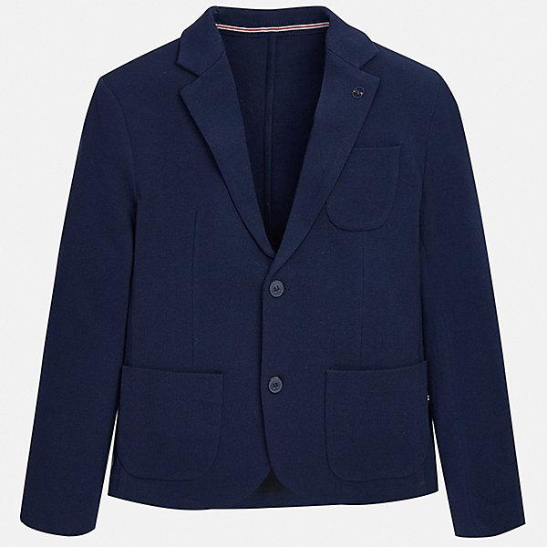 Пиджак Mayoral для мальчикаКостюмы и пиджаки<br>Характеристики товара:<br><br>• цвет: синий<br>• состав ткани: 100% хлопок<br>• сезон: демисезон<br>• особенности модели: школьная<br>• длинные рукава<br>• застежка: пуговицы<br>• страна бренда: Испания<br>• неповторимый стиль Mayoral<br><br>Хлопковый детский пиджак для мальчика отлично подойдет для ношения в межсезонье. Хороший способ обеспечить ребенку аккуратный внешний вид и комфорт - надеть детский пиджак от Mayoral. Детский пиджак сшит из приятного на ощупь материала. Пиджак для мальчика Mayoral дополнен карманами.<br><br>Пиджак Mayoral (Майорал) для мальчика можно купить в нашем интернет-магазине.<br>Ширина мм: 190; Глубина мм: 74; Высота мм: 229; Вес г: 236; Цвет: синий; Возраст от месяцев: 96; Возраст до месяцев: 108; Пол: Мужской; Возраст: Детский; Размер: 128/134,170,164,158,152,140; SKU: 7544761;