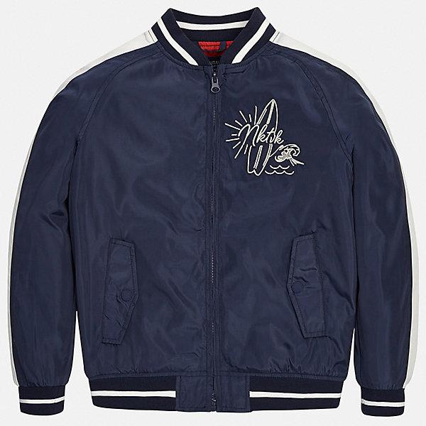 Куртка Mayoral для мальчикаВетровки и жакеты<br>Характеристики товара:<br><br>• цвет: синий<br>• состав ткани: 100% полиэстер<br>• подкладка: 100% полиэстер<br>• утеплитель: нет<br>• сезон: демисезон<br>• особенности куртки: без капюшона, спортивный стиль<br>• застежка: молния<br>• страна бренда: Испания<br>• неповторимый стиль Mayoral<br><br>Модная детская ветровка подойдет для переменной погоды. Отличный способ обеспечить ребенку тепло и комфорт - надеть такую куртку от Mayoral. Детская куртка сшита из приятного на ощупь материала. Куртка для мальчика Mayoral дополнена подкладкой и карманами.<br><br>Куртку Mayoral (Майорал) для мальчика можно купить в нашем интернет-магазине.<br>Ширина мм: 356; Глубина мм: 10; Высота мм: 245; Вес г: 519; Цвет: синий; Возраст от месяцев: 168; Возраст до месяцев: 180; Пол: Мужской; Возраст: Детский; Размер: 170,128/134,140,152,158,164; SKU: 7544782;