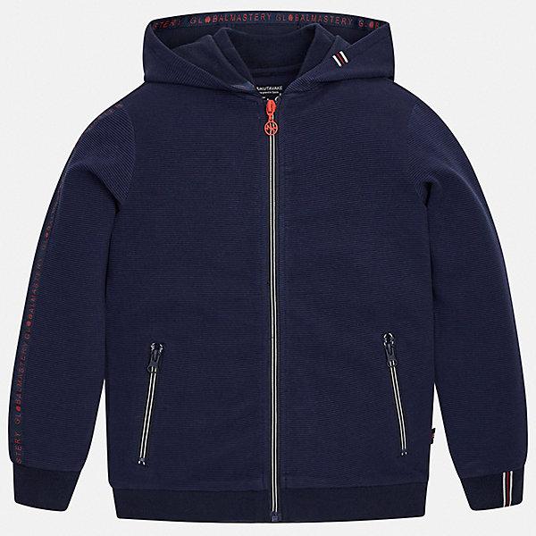 Куртка Mayoral для мальчикаВерхняя одежда<br>Характеристики товара:<br><br>• цвет: синий<br>• состав ткани: 76% хлопок, 24% полиэстер<br>• утеплитель: нет<br>• сезон: демисезон<br>• особенности куртки: с капюшоном, спортивный стиль<br>• застежка: молния<br>• страна бренда: Испания<br>• неповторимый стиль Mayoral<br><br>Эта детская ветровка подойдет для переменной погоды. Отличный способ обеспечить ребенку тепло и комфорт - надеть такую куртку от Mayoral. Детская куртка сшита из приятного на ощупь материала. Куртка для мальчика Mayoral дополнена подкладкой и карманами.<br><br>Куртку Mayoral (Майорал) для мальчика можно купить в нашем интернет-магазине.<br>Ширина мм: 356; Глубина мм: 10; Высота мм: 245; Вес г: 519; Цвет: голубой; Возраст от месяцев: 96; Возраст до месяцев: 108; Пол: Мужской; Возраст: Детский; Размер: 152,140,158,128/134,170,164; SKU: 7544803;