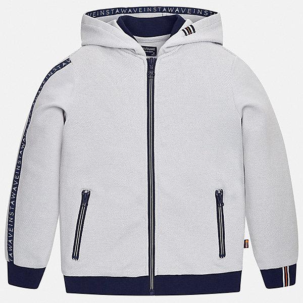 Куртка Mayoral для мальчикаВерхняя одежда<br>Характеристики товара:<br><br>• цвет: серый<br>• состав ткани: 76% хлопок, 24% полиэстер<br>• утеплитель: нет<br>• сезон: демисезон<br>• особенности куртки: с капюшоном, спортивный стиль<br>• застежка: молния<br>• страна бренда: Испания<br>• неповторимый стиль Mayoral<br><br>Детская куртка сделана из качественного материала и фурнитуры. Куртка для мальчика отличается стильным продуманным кроем от европейских дизайнеров. В детской куртке есть карманы, модель дополнена капюшоном.<br><br>Куртку Mayoral (Майорал) для мальчика можно купить в нашем интернет-магазине.<br>Ширина мм: 356; Глубина мм: 10; Высота мм: 245; Вес г: 519; Цвет: серый; Возраст от месяцев: 96; Возраст до месяцев: 108; Пол: Мужской; Возраст: Детский; Размер: 128/134,170,164,158,152,140; SKU: 7544810;