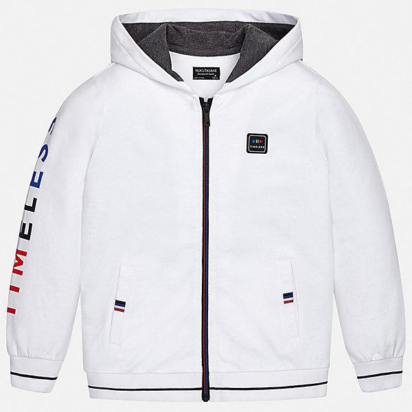 Куртка Mayoral для мальчикаВерхняя одежда<br>Характеристики товара:<br><br>• цвет: белый<br>• состав ткани: 60% хлопок, 40% полиэстер<br>• утеплитель: нет<br>• сезон: демисезон<br>• особенности куртки: с капюшоном, спортивный стиль<br>• застежка: молния<br>• страна бренда: Испания<br>• неповторимый стиль Mayoral<br><br>Эффектная детская куртка сделана из качественного материала и фурнитуры. Куртка для мальчика отличается стильным продуманным кроем от европейских дизайнеров. В детской куртке есть карманы, модель дополнена капюшоном.<br><br>Куртку Mayoral (Майорал) для мальчика можно купить в нашем интернет-магазине.<br>Ширина мм: 356; Глубина мм: 10; Высота мм: 245; Вес г: 519; Цвет: белый; Возраст от месяцев: 168; Возраст до месяцев: 180; Пол: Мужской; Возраст: Детский; Размер: 170,128/134,164,158,152,140; SKU: 7544830;