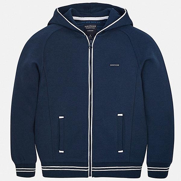 Куртка Mayoral для мальчикаВерхняя одежда<br>Характеристики товара:<br><br>• цвет: синий<br>• состав ткани: 60% хлопок, 40% полиэстер<br>• утеплитель: нет<br>• сезон: демисезон<br>• особенности куртки: с капюшоном, спортивный стиль<br>• застежка: молния<br>• страна бренда: Испания<br>• неповторимый стиль Mayoral<br><br>Легкая детская куртка отличается к4ачественной фурнитурой и материалом. В куртке для мальчика от испанской компании Майорал ребенок будет чувствовать себя комфортно в прохладную погоду. Эта демисезонная куртка для мальчика от Майорал поможет обеспечить ребенку удобство и тепло. <br><br>Куртку Mayoral (Майорал) для мальчика можно купить в нашем интернет-магазине.<br>Ширина мм: 356; Глубина мм: 10; Высота мм: 245; Вес г: 519; Цвет: синий; Возраст от месяцев: 132; Возраст до месяцев: 144; Пол: Мужской; Возраст: Детский; Размер: 152,170,164,158,140,128/134; SKU: 7544858;
